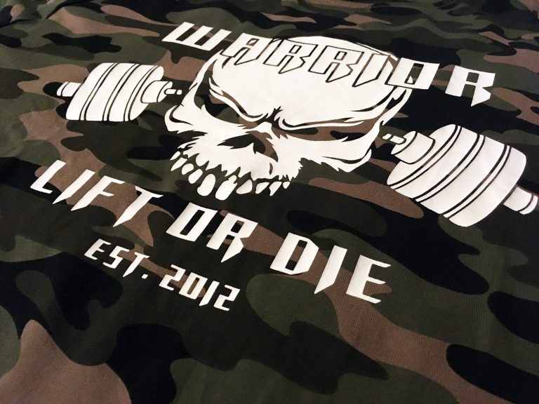 tshirt camo warrior lift or die powerlifting