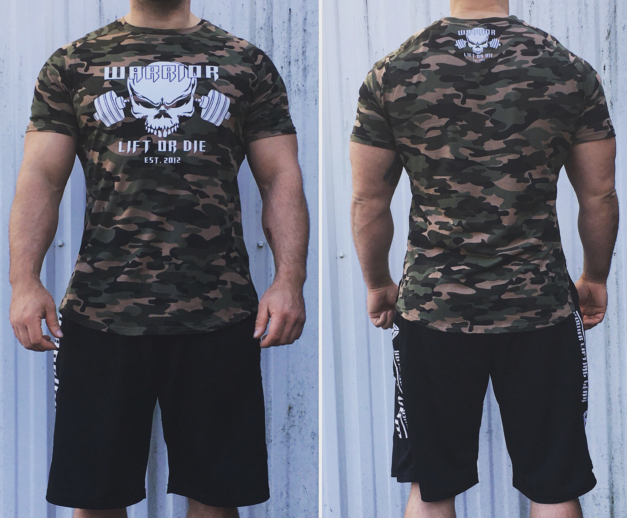 t shirt camouflage warrior lift or die en lastane pour les adaptes de la musculation. Black Bedroom Furniture Sets. Home Design Ideas