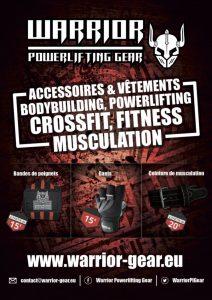 Publicité Warrior Powerlifting Gear - Accessoires de musculation et vêtements de sport