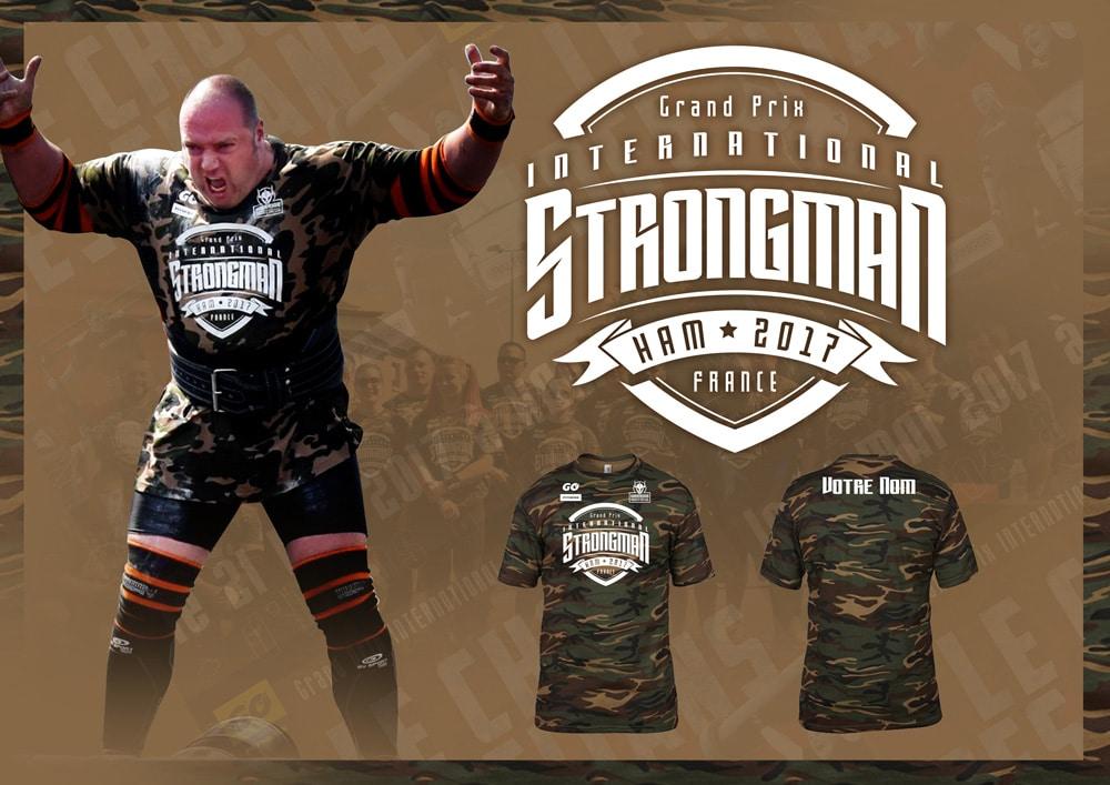 tshirt camouflage strongman ham personnalise