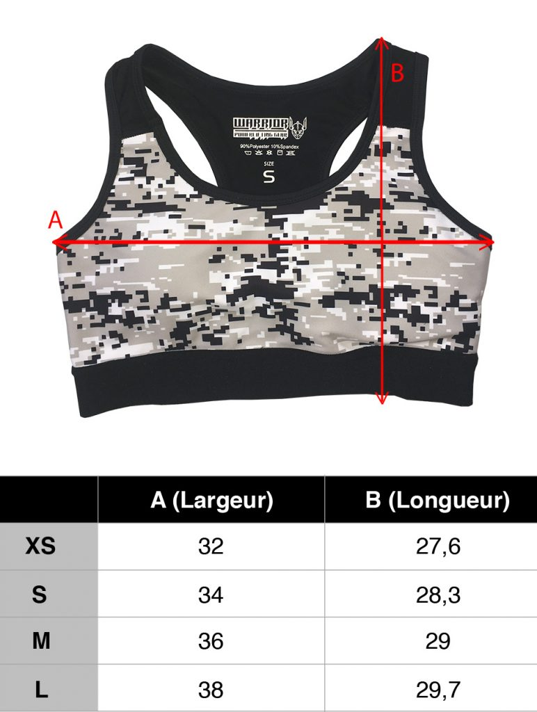 guide taille femme brassieres fitness