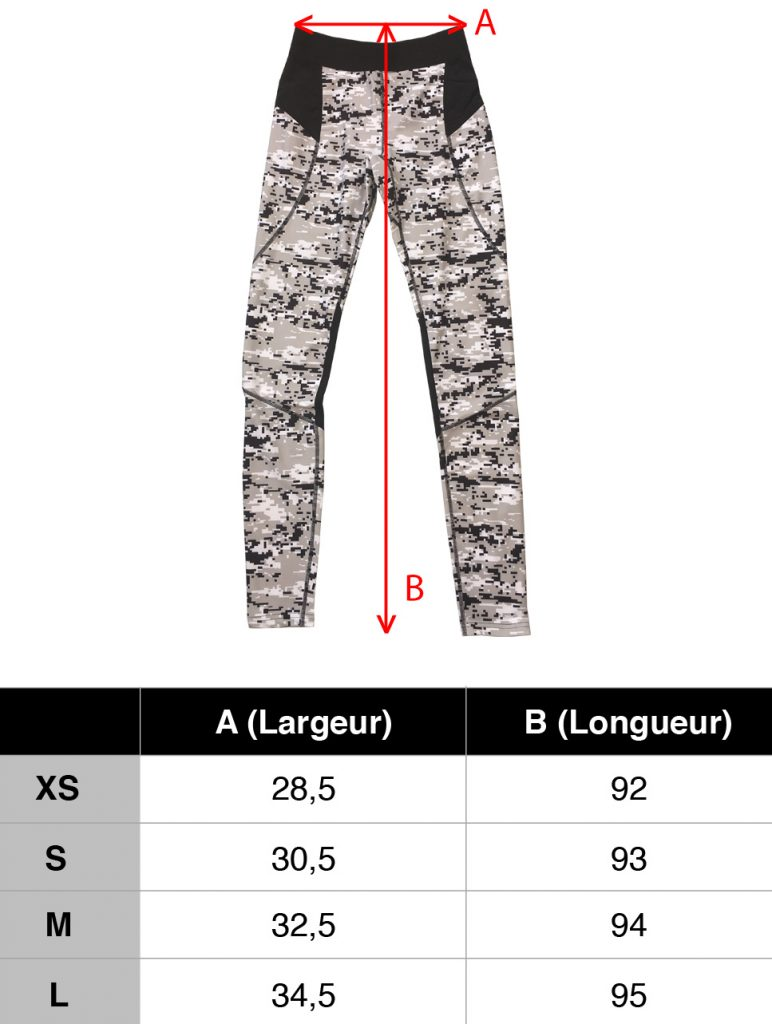 guide taille femme legging musculation