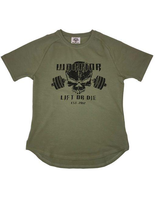 tshirt olive muscu warrior - tshirt fitness