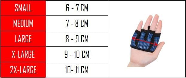 guide des tailles gants musculation
