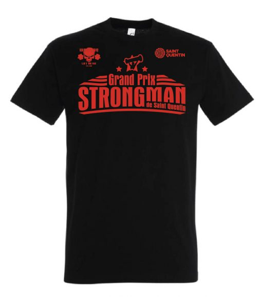 tshirt strongman noir - grand prix strongman de saint quentin