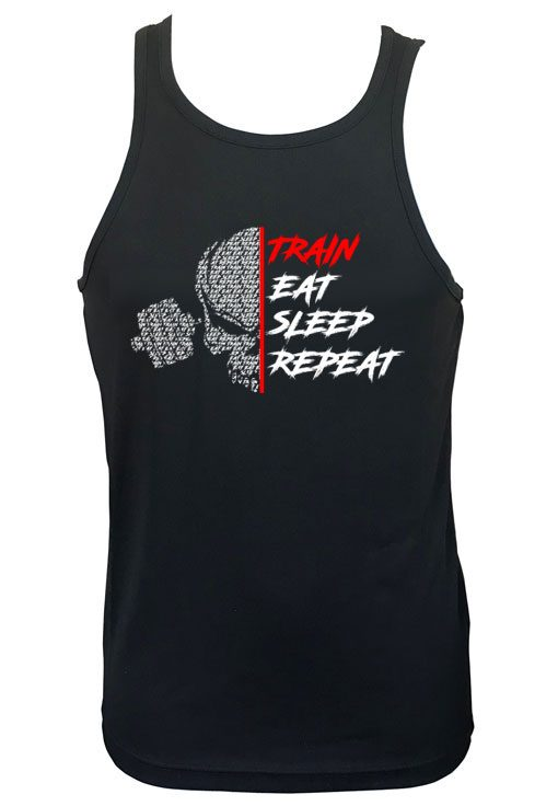 debardeur noir train eat sleep repeat