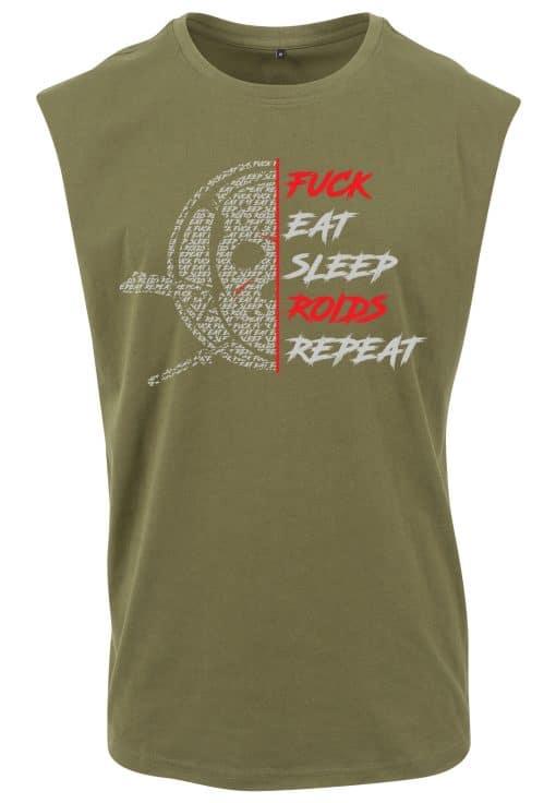 t-shirt sans manche fuck eat sleep roids
