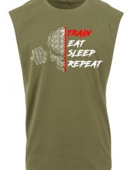 t-shirt sans manche train eat sleep repeat
