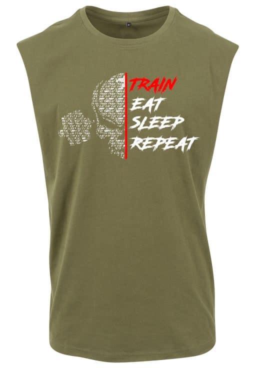 t-shirt sans manche train eat sleep repeat