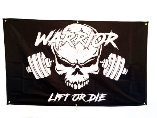 drapeau homegym warrior gear - drapeau bodybuilding chambre - poster musculation